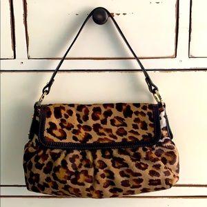 FENDI Lg Chef Leopard Print Pony Hair Shoulder Bag